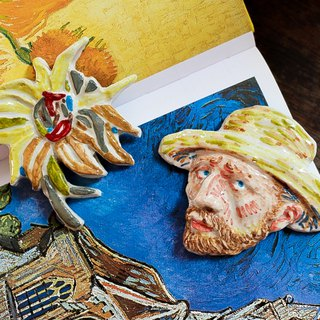 Set 01  Vangogh and His Sunflower ( Brooch / Magnet )