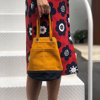 Mini Mustard/navy Canvas Bucket Bag with strap /Leather Handles /Daily use