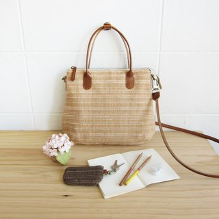 Crossbody Midi Curve Bags Hand Woven and Botanical dyed Cotton Natural-Tan Color