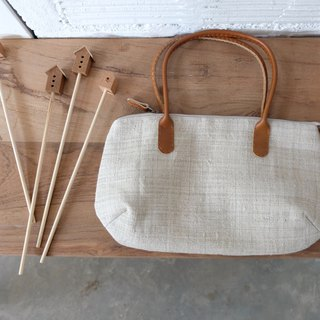 Made to Order : Crossbody Curve Bags  Cotton Brown-Blue Color