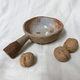 Tree bowl / Ceramic bowl withe wooden handle