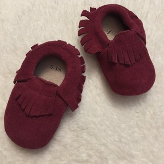 SanBelle Baby Fringed Moccasin Shoes ★Lether★0-18m Purple red