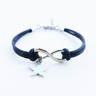Infinity and star bracelet ,waxed cotton cord in black