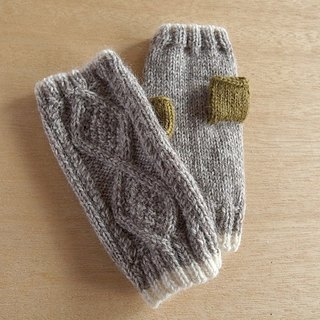 Diamond pattern fingeless mitten gloves · heather × fine neck order production