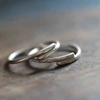 Pair of minimal handmade silver wrap rings with different textures (R0037)