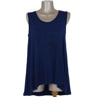 2017 Summer New! Hibiscus print sleeveless tunic <navy>