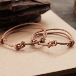 Little infinity knot genuine leather in natural tan bracelet - couple bracelet