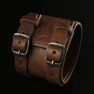 HEYOU Handmade - Leather Cuff 皮革手环 - 深咖