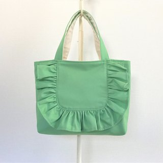 Round Frill Horizontal Tote Bag Green
