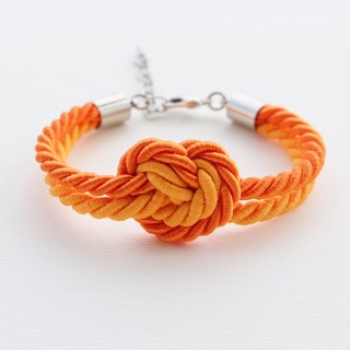 Heart knot rope bracelet in tangerine and sunburst