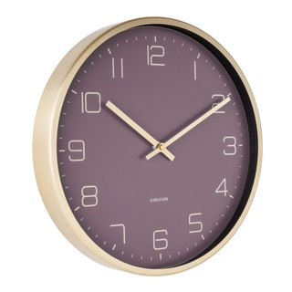 Karlsson 亮金框紫色挂钟Wall clock Gold Elegance purple