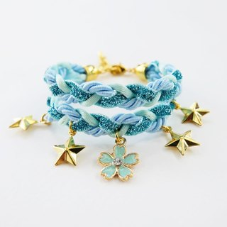 Glittered blue double layer braided bracelet with flower and star