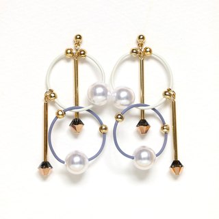 cosmos-white: blue Beads earrings, earrings