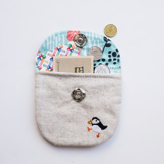 海雀 Puffin Embroidered Linen Wee Pouch