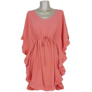 Butterfly sleeve ruffle dress <Coral>