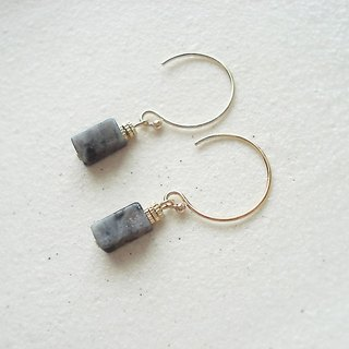 14kgf Larvikite hook earrings