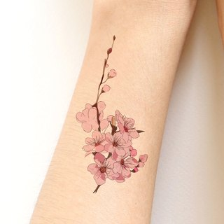 Sakura (Cherry blossom) sticker tattoo-Hand drawing style.