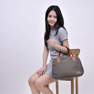 mono tote&shoulder bag - smoke brown
