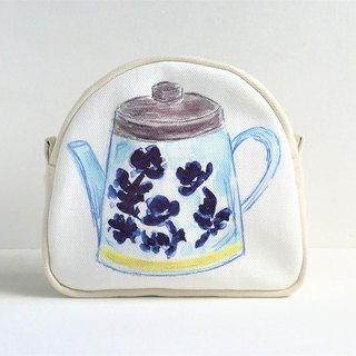 Gardener's Tea Party round pierced gusseted tea pot pattern blue