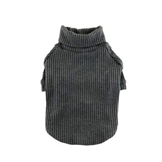 Dark Gray Rib Knit Turtleneck Top, Dog Sweater, Dog Clothing, Dog Fashion