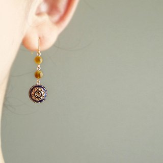 Golden tigereye 虎眼石, antique style, hook earrings
