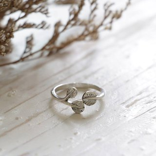 leaf flower clover lucky Minimal ring handmade lady women Girl silver stacking