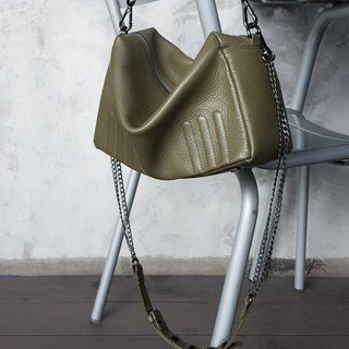 SUBMARINE (Olive) soft leather bag with double straps