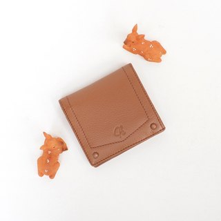 Hannah (caramel brown) : Small leather short wallet, folded wallet