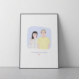 Custom Portrait illustration ,Reorganise of couple with pets.