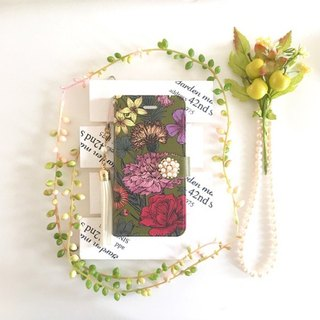 pajour autumn winter khaki color vintage large flower Liberty pattern notebook type case