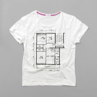 To friends who moved home! Tcollector Japan's floor plan Ladies' T shirt XS ~ XL size
