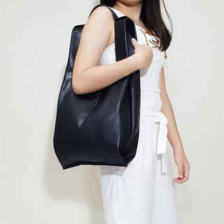 GENUINE LEATHER Black Leather Tote / Shopper Bag / Shoulder Bag / Singlet Bag