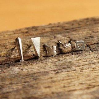 Goody Bag - Gimme 5 Set - 5 pairs of Minimal Silver Earrings / Handmade / 银耳环