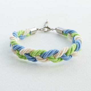 Blue/Lime/Cream braided bracelet
