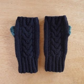 Alpaca wool's Allan hand warmer · Navy × Turquoise blue Made-to-order production