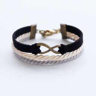 Brass infinity in Black suede Cream and Light gray rope