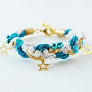 Christmas gift collection ,Blue/White/Gold braided rope and beads bracelet with stars