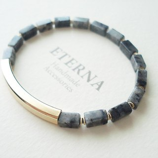 Larvikite and curved pipe bracelet