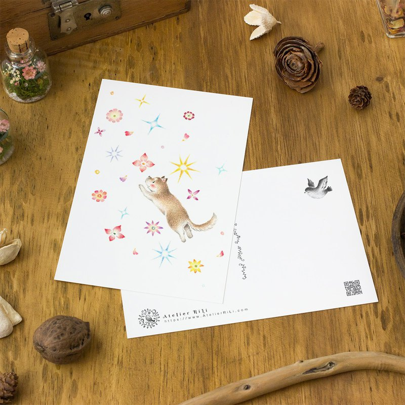 "4 pieces set. Like a picture book. Postcard ""Puppy's Cinnamon, Flowers and Snow"" PC-326"