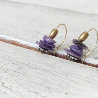 紫龙晶石碎片14KGF耳环/  Charoite beads with 14KGF earring