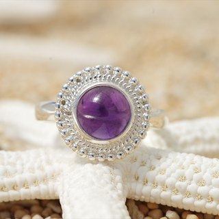 Silver ring of amethyst