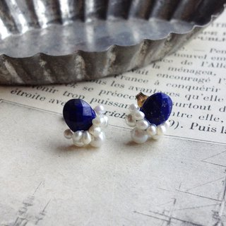 High quality lapis lazuli AAA - × fresh water ketjipal collage earrings OR painful brass ear clip ear needle / ears