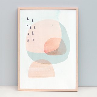 Modern Fine Art Print with Peach Circles and Triangles (Unframed)