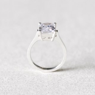 White Square Ring Silver 925