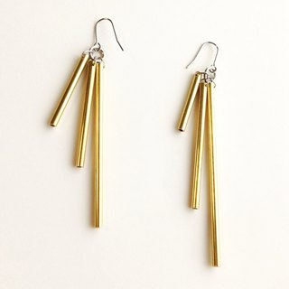 [Orders] production Earrings / Gold color asymmetry fringe design