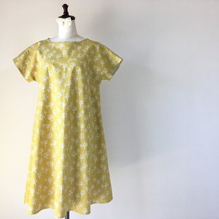 Tree pattern flare one piece mustard yellow