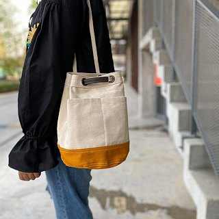 Mini Off-white/mustard Canvas Bucket Bag with strap /Leather Handles /Daily use