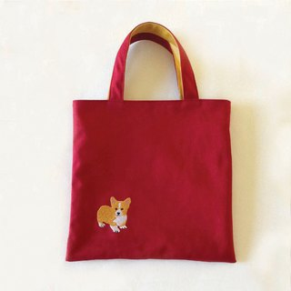 小柯基-Tote Double Mini- Corgi/帆布托特包/刺绣/玩具袋