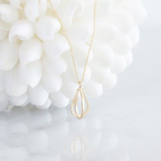 【14 KGF】 Long Necklace - 14 KGF Double Teardrop Birdcage -