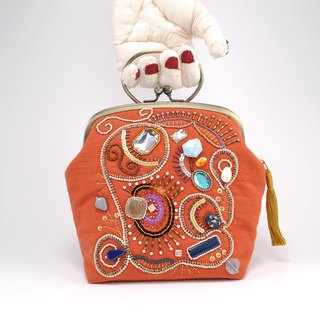 Embroidered bag with beads and yarn, party bag, sparkle orange bag 1